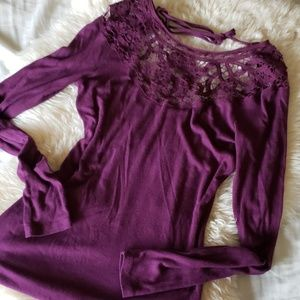 Jessica Simpson plum Henley crochet detail top